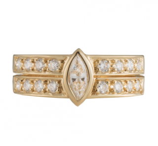 Cartier Yellow Gold Double Band Diamond Ring