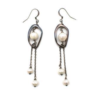 Lanvin Metallic Faux Pearl Drop Earrings
