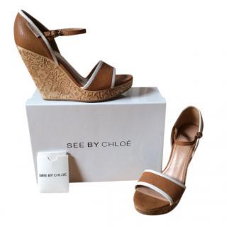 See by Chloe Tan Wedge Sandals