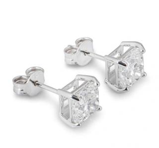 Bespoke White Gold Cushion Cut Diamond Earrings