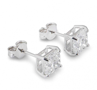 Bespoke White Gold Cushion Cut Diamond Earrings