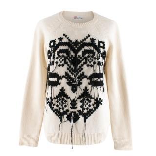 Red Valentino Cream & Black Knitted Wool Sweater