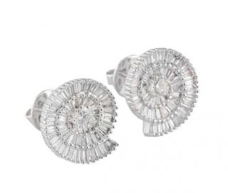 Bespoke White Gold Diamond Swirl Earrings