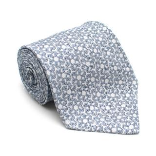 Hermes Pale Blue Chain Print Silk Tie