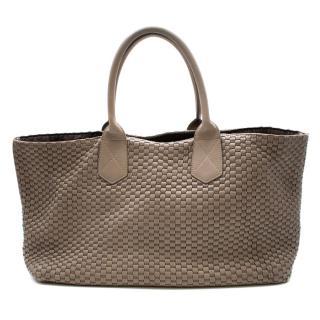 Bruno Parise Taupe Woven Leather Shoulder Bag