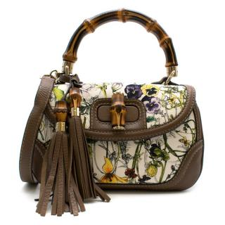 Gucci Canvas Flora Painted Bamboo Top Handle Bag