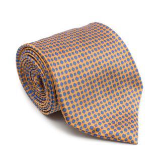 Stefano Ricci Handprinted Silk Orange & Blue Tie