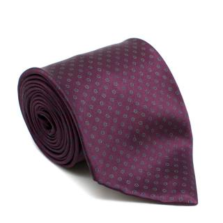 Stefano Ricci Handprinted Silk Purple Motif Tie