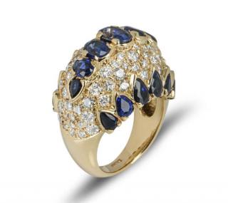 Bespoke Yellow Gold Sapphire and Diamond Dress Ring