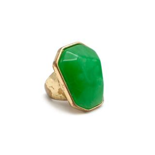Kenneth Lane Gold Tone Large Green Crystal Cocktail Ring