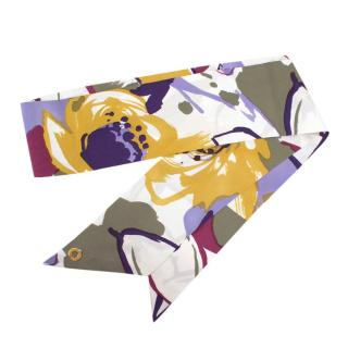 Loro Piana Printed Floral Silk Twilly