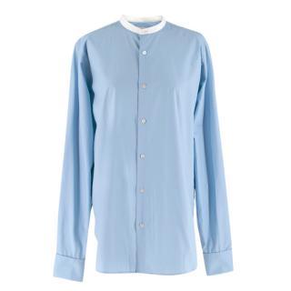 Stella McCartney Blue Cotton Men's Shirt with Mandarin Collar