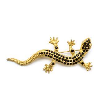 Bespoke Gold Tone Crystal Lizard Brooch