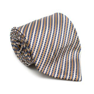Stefano Ricci Handprinted Silk Brown & Navy Stripe Tie