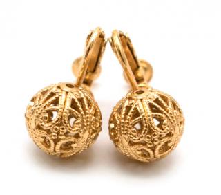 Bespoke Gold Tone Filligree Clip On Earrings