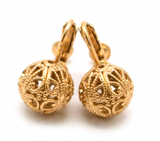 Bespoke Gold Tone Filligree Clip On Earrings