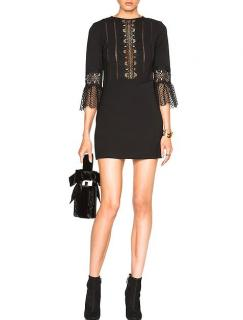 Self Portrait Crochet Trim Bell Sleeve Mini Dress