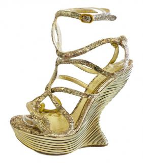 Alexander McQueen Gold Python Skin Gold Sculptures Wedges.