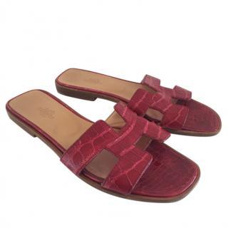 Hermes Red Alligator Oran Sandals