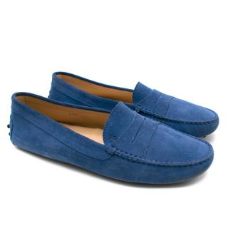 Tod's Blue Suede City Gommino Driving Shoes
