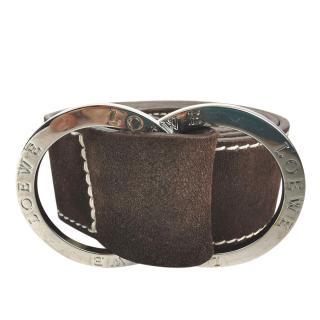 Loewe Brown Suede Double Ring Buckle Belt