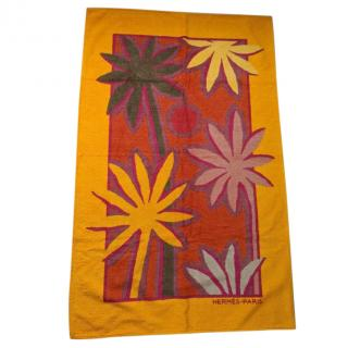 Hermes Orange Palm Tree Print Beach Towel