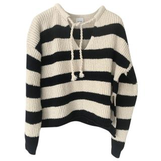 Burberry Striped Knit Tie-Neck Jumper