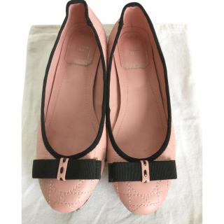 Dior Pale Pink Cannage Leather Ballerina Flats