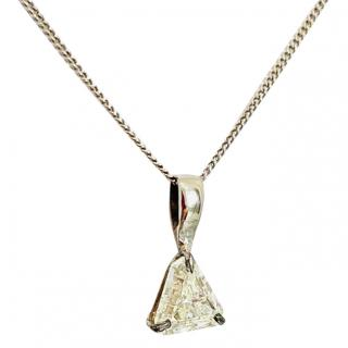 Bespoke Triangle Solitaire Diamond Pendant Necklace