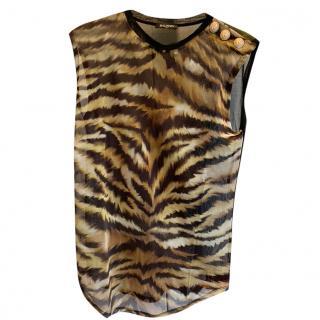 Balmain Animal Print Sleveveless Sheer Vest