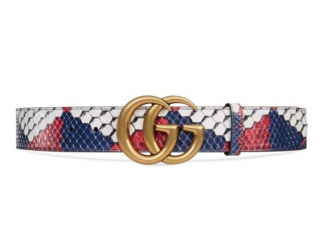 Gucci Python Belt with Double GG Buckle