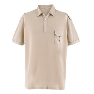 Cellini Beige Cotton Knitted Polo Top