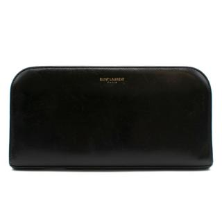 Saint Laurent Black Leather Zip Around Wallet