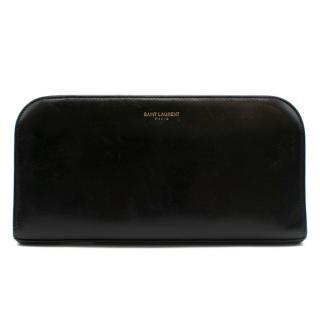 Saint Laurent Black Leather Zip Around Wallet
