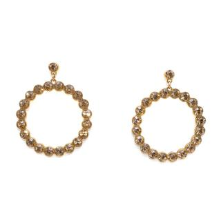 Bespoke Gold Circular Crystal Embellished Earrings