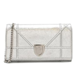 Dior Silver Calfskin Diorama Wallet on Chain