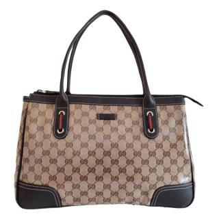 Gucci Leather & Canvas Supreme Tote Bag