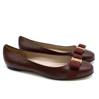 Salvatore Ferragamo Burgundy Leather Ballet Flats