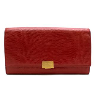 Smythson Red Lizard Embossed Leather Travel Wallet