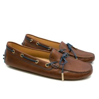 Tod's Brown Leather Gommino Driving Shoes