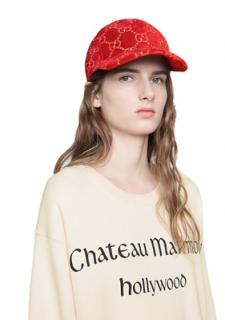 Gucci Red Velvet Monogram Baseball Cap