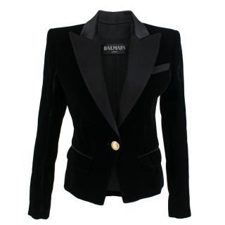 Balmain Black Single-Breasted Velvet Blazer