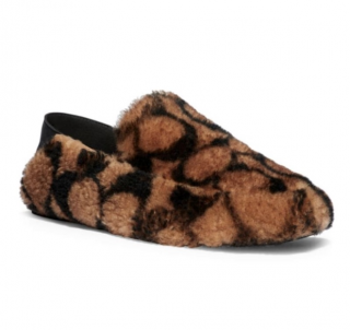 Coach Fur Monogram Leather Holly Slippers