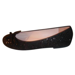 Pretty Ballerinas Black Glitter Ballerina Flats