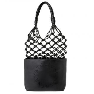 Stella McCartney Black Faux Leather Logo Knotted Tote Bag