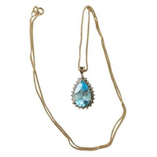 Bespoke Pear Shaped Topaz & Diamond Necklace