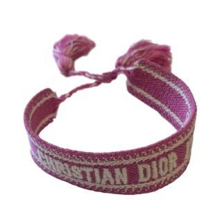Dior Pink Embroidered Friendship Bracelet