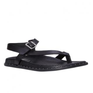 Paige Black Calfskin Zuri Sandals