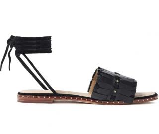Maje Black Leather Fringed Gladiator Sandals