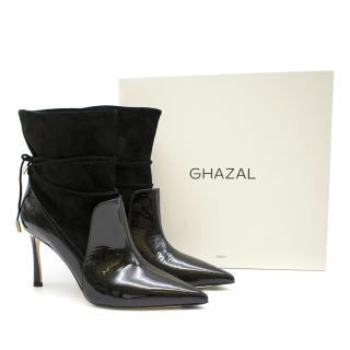 Ghazal Black Leyth Suede & Patent Leather Ankle Boot